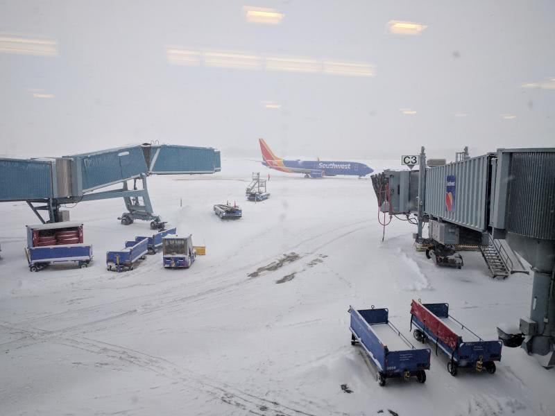 Snowy Albany airport